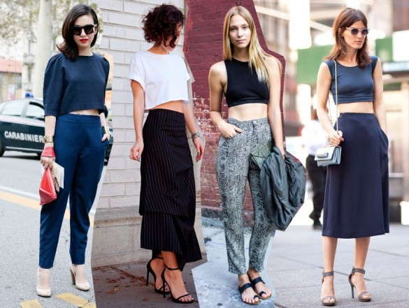 crop top trend 2014 outfits fashion blog bloggers wearing crop tops street style streetstyle